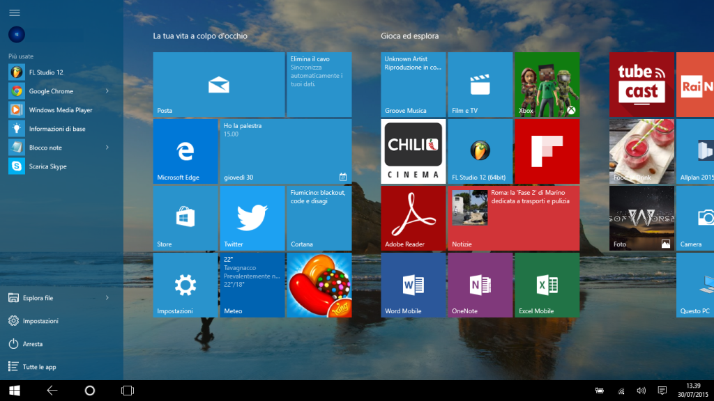 Start screen Windows 10 Tablet Mode